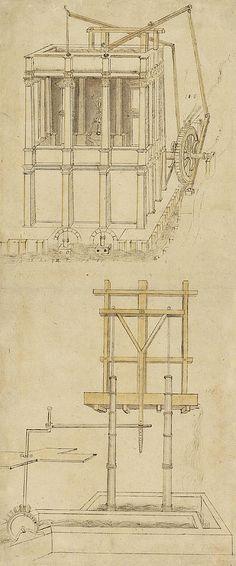 Leonardo da Vinci, 1452-1519, Italian, Architecture with indoor fountain (from Codex Atlanticus). Pen and ink. Biblioteca Ambrosiana, Milan. High Renaissance.