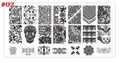 Wholesale 1pcs New Black Flower Lace Nail Stamping Plates Stainless Steel Nail Art Stamp Template Manicure Nail Tools