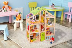 Amazon.com: Abigail Dollhouse with 54 pcs furniture, 4 Dolls, and Pet dog - Wooden Doll house: Toys & Games