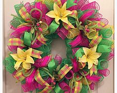 SPRING SALE-Yellow Lily Deco Mesh Wreath/Pink, Lime and Yellow Wreath/Yellow Lily Wreath/Mothers Day Wreath