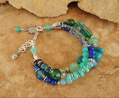 Boho Bracelet, Multi Strand Layered Bracelet, Sea Turtle Jewelry, Turquoise Jewelry, Deep Ocean Colors, Bohemian Fashion