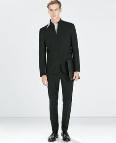 ZARA - MAN - MAO COLLAR ZIPPED BLAZER