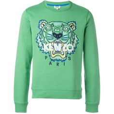 Kenzo 'Tiger' sweatshirt Spazio Pritelli ($225) ❤ liked on Polyvore featuring tops, hoodies, sweatshirts, kenzo, kenzo sweatshirt, green sweatshirt, tiger sweatshirt and tiger print top
