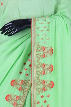 82b193cfd2 Sea Foam Green Tussar Silk Bead Embroidered Saree-VI1613