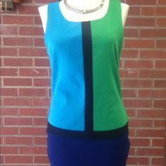"""Forever 21 Color Block Blue Green Sheath Dress This was my """"go-to"""" dress for a long time. Very easy to wear, stretchy, comfortable and always looks sharp. It looks much pricier than it is. No defects but it does have regular wear to it and some fading. Side zipper. Flat approximate measurements: bust - 34"""", waist - 30"""", hips - 34"""", length - 31"""". Smoke free, pet free home. Forever 21 Dresses Midi"""