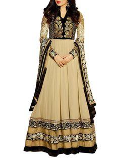 Black & Beige Embroidered Floor Length Anarkali Suit