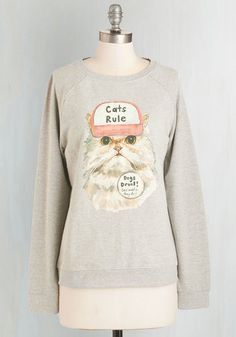 Speaker of the House-cat Sweatshirt | Mod Retro Vintage Sweaters | ModCloth.com