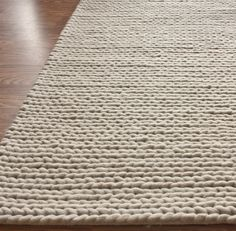 Hand Woven Chunky Woolen Cable Rug In Off White Design By Nuloom