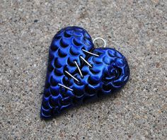 Stitched Up Dragon Skin Heart Pendant Metallic Blue by handmademom, $10.99