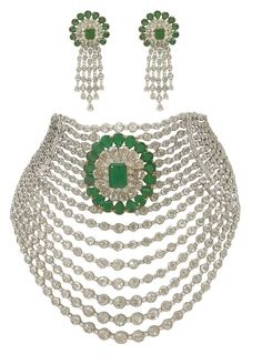 Anmol Jewellers detachable necklace cum choker with diamonds and emeralds.