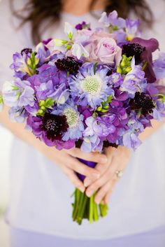Loving this purple bouquet from Morrison Floral Company. Photo by Picturesque Photos by Amanda. #wedding #bouquet #purple #lavender