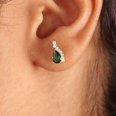 Tsavorite Gemstone Pave Stud Earrings Diamond Solid 18K Yellow Gold Fine Jewelry #Designer #Stud Emerald Blue, Emerald Gemstone, Solid Gold Jewelry, Fine Jewelry, Diamond Earrings, Stud Earrings, Art Deco Earrings, Diamond Art, Jewelry Designer