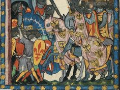 Detail from a wonderful early 14th century illustration of the so-called Codex Manesse (Cod. Pal. germ. 848, folio 43 v), showing a front rank spearman delivering an overarm spear thrust against an approaching horseman.