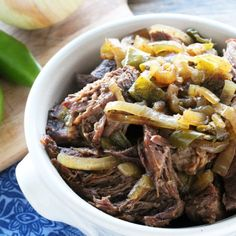 Slow Cooker Green Chili Beef using fresh green chilies.