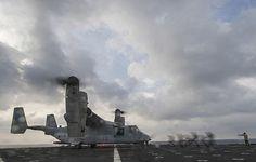 Sailors secure an MV-22 Osprey to the flight deck of the amphibious dock landing ship USS Harpers Ferry (LSD 49).  #USNavy