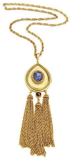 Ben-Amun Gypset Teardrop Tassel Necklace