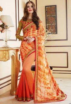 #Orange #Georgette #Designer Saree #latest #newlyadded #dress #Saree #sale  #nikvik #usa #designer #australia #canada #sari