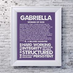 GABRIELLA Personalized Name Print / Typography by OhBabyNames
