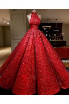 Ball Gown High neckline Prom Dress With Beads Floor-Length Sequins Quinceanera Dress Sweet 16 Dresses for Girls Sweet 16 Dresses, Sweet Dress, Elegant Dresses, Pretty Dresses, Glamorous Dresses, Ball Gown Dresses, Dress Up, Red Ball Gowns, Red Gowns