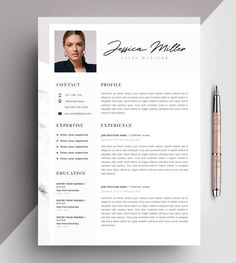 This Professional Resume Template CV Template Editable in MS Word is just one of the custom, handmade pieces you'll find in our résumé templates shops. Template Cv, Teacher Resume Template, Modern Resume Template, Creative Resume Templates, Microsoft Word 2007, Job Resume, Resume Tips, Cv Ingenieur, Cv Curriculum Vitae