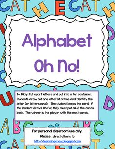 Oh No! ~ letter recognition Game from Learning Ahoy on TeachersNotebook.com (5 pages)  - Oh No! is a fun letter recognition game that students love! It can also be used as flashcards for remediation and learning.