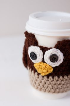Crocheted Cuddly Owl Coffee Cup Cozy