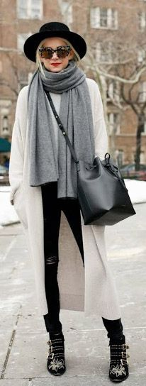 Street Style February 2015: Blair Eadie is wearing a Zara sweater jacket, a black bucket bag from Mansur Gavriel and Stella McCartney sunglasses