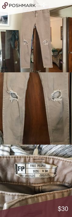 Free People Tan Skinny Crop Jeans Distressed Knees Free People size W 30 tan pants with pre-made knee holes. Perfect for the fall!   These pants have some stretch - I could see them fitting sizes 8,10, and 12 comfortably. Free People Jeans Ankle & Cropped