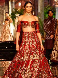 Deepika Padukone walks on the ramp for Manish Malhotra at India Couture Week 2016 in Delhi.