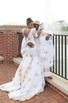 Diasporan Africans, bride and groom looking fabulous ~