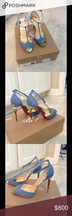 Christian Louboutin Heels 38 Christian Louboutin size 38. Peep toe. 110mm heel height. Denim and summer prints. Brand new with box and dust bag. SOLD OUT!! Paid $1095. Christian Louboutin Shoes Heels