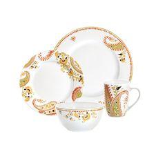 Rachael Ray Dinnerware Paisley 16-piece Porcelain Dinnerware Set - Free Shipping Today - Overstock.com - 13906650 - Mobile