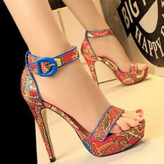 Shoespie Fashion Bohemia Print Stripes Platform Sandals