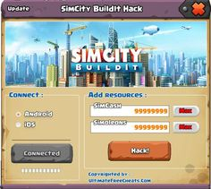 """http://wehack4u.com/simcity-buildit-hack-tool/ Simcity Buildit Hack  Enter your SimCity BuildIt Hack Account. Choose the quantity of simoleons, simCash and golden keys. Click """"Download"""" Button. Wait the process until finish. This usually takes less than two minutes."""