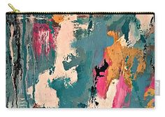 Abstract Art Carry-all Pouch featuring the painting Turquoise Reflections No. 1 by Mary Mirabal