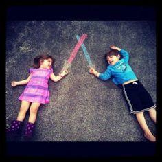 22 Totally Awesome Sidewalk Chalk Ideas - Sword Fencing Chalk Art Idea