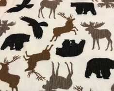 CRIB Sheets WOODLAND ANIMALS print flannel Baby Bedding