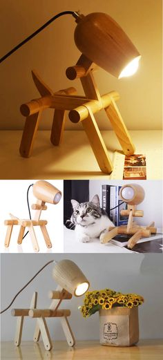 "Wooden Cute Dog Desk Table Lamp HANDMADE The more I learn about people, the more i like my dog (Mark Twain). A dog is man's best friend, and a dog lamp is a friend who gives light. ""TechnoDog"" - wonderful lamp, which will be…"