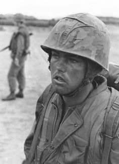 """From the source: """" OPERATION DESOTO – Sergeant Small of the 1st Platoon, """"F"""" Company, 2d Battalion, Seventh Marines, looks weary and leery while on Operation DeSoto with the 3d Battalion, Seventh Marine Regiment, south of Quang Ngai..."""