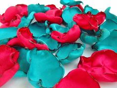 Mixture of Aqua Blue and Red flower petals, Mix of Teal and Red rose petals, flower girl petals, baby shower decor, bridal shower decor