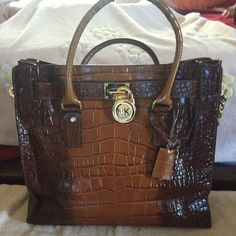 """Michael Kors Snake Print Lg Tote Michael Kors Hamilton Large Hamilton Saffiano Leather Shiulder Tote w/ gold chains.                Depth of Bag 5"""" , Bag Length is 14"""", Strap Drop 5""""/13"""" Longer strap for shoulder cross body wear. Size -Large, and Bag Height 13"""". Used twice. Excellent Condition Michael Kors Bags Totes"""
