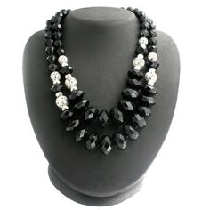 Robert Rose Black Faceted Rondel & Textured Bead 2 Strand  +Black Diamond #RobertRose #Strand
