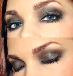 black/grey/glittery smokey eye
