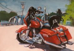 RED HARLEY  original oil painting by stephenparkerart on Etsy, $100.00