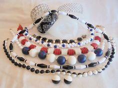 Vintage *POP ART* Jewelry Lot BLACK/BLUE/WHITE/RED Necklaces/Bracelets/Set Retro #Unbranded