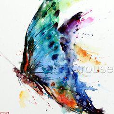 Schmetterling Aquarell Kunstdruck Gemälde von Dean Crouser