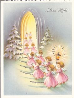 Vintage Christmas Card Procession of Angels in Pink with Silver Glitter | eBay