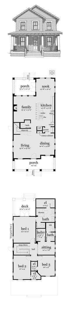 Narrow Lot House Plan 70816 | Total Living Area: 2080 sq. ft., 3 bedrooms and 2.5 bathrooms. #narrowlothome