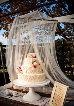 Buttercream Cake - Rustic Farm Country Wedding - Outdoor Cake Stand - Fall - Dirty Icing - Wedding Outside - Quilt Wedding - Rustic Chic Wedding Cake Ideas - Knoxville TN Florist - Burlap and Lace Wed