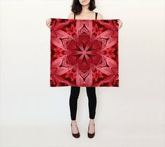 Maple leaves mandala silk scarf red shades by RVJamesDesigns
